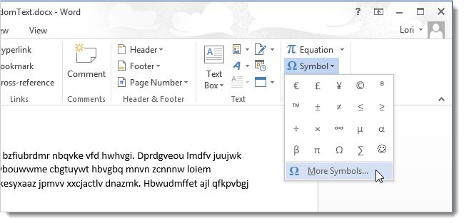 How to Use Symbols in Word 2013