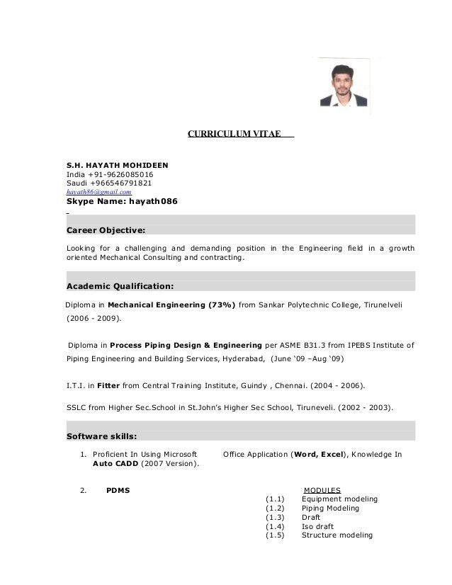 mechanical fitter resumes samples hayath mechanical engineer cv ...