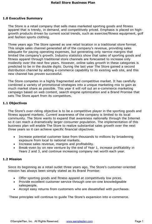 Retail Store Business Plan Executive Summary