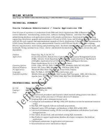 sample oracle dba resume oracle database administrator sample ...