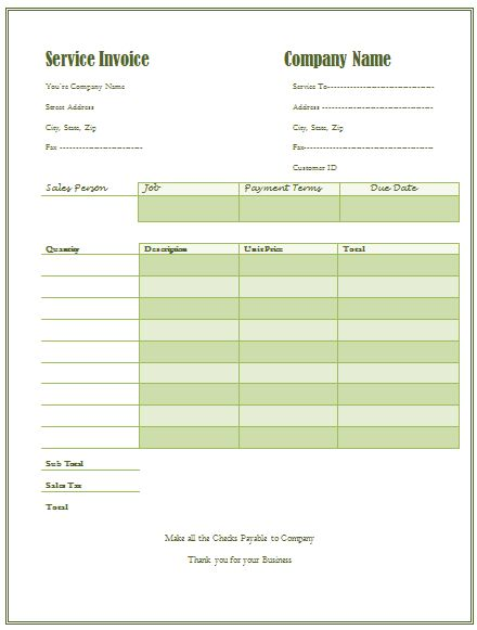 Download Invoice Template for Janitorial Services | rabitah.net