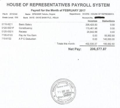 Dogara Releases Salary Payslip|Dogara El-Rufai