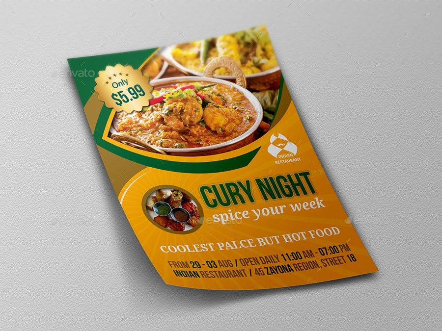 Indian Restaurant Advertising Bundle Template by OWPictures ...