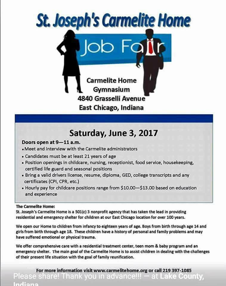 St. Joseph's Carmelite Home to Host Job Fair Sat. June 3