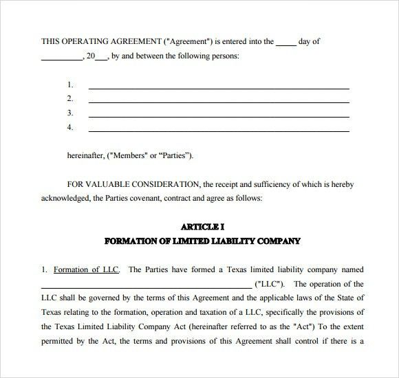 Sample Operating Agreement - 9+ Examples, Format