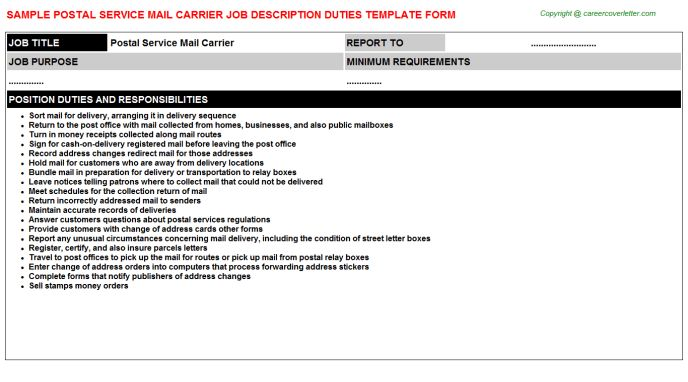 Postal Service Mail Carrier Job Description