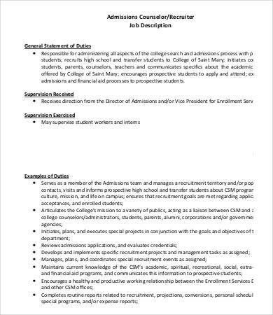 Admissions Counselor Job Description - 8+ Free Word, PDF Documents ...