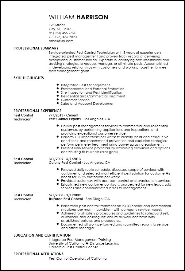 Amusing Pest Control Resume Sample 44 For Resume Template ...