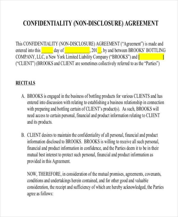 12+ Non- Disclosure Agreement Templates - Free Sample, Example ...