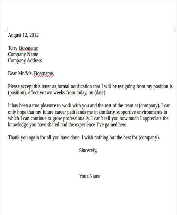 Internship Resignation Letter Template - 6+ Free Word, PDF Format ...