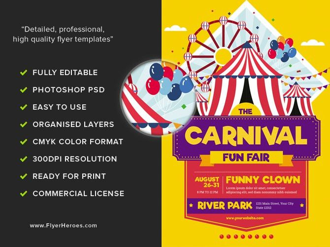 Carnival Funfair Event Flyer Template - FlyerHeroes