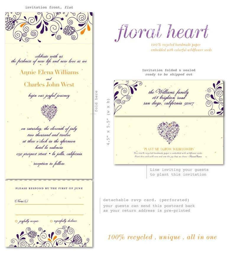 Unique Wedding Invitations on plantable paper - Floral Heart by ...