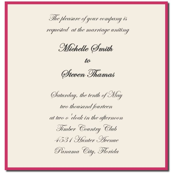 Wedding Invitation Format Sample | PaperInvite
