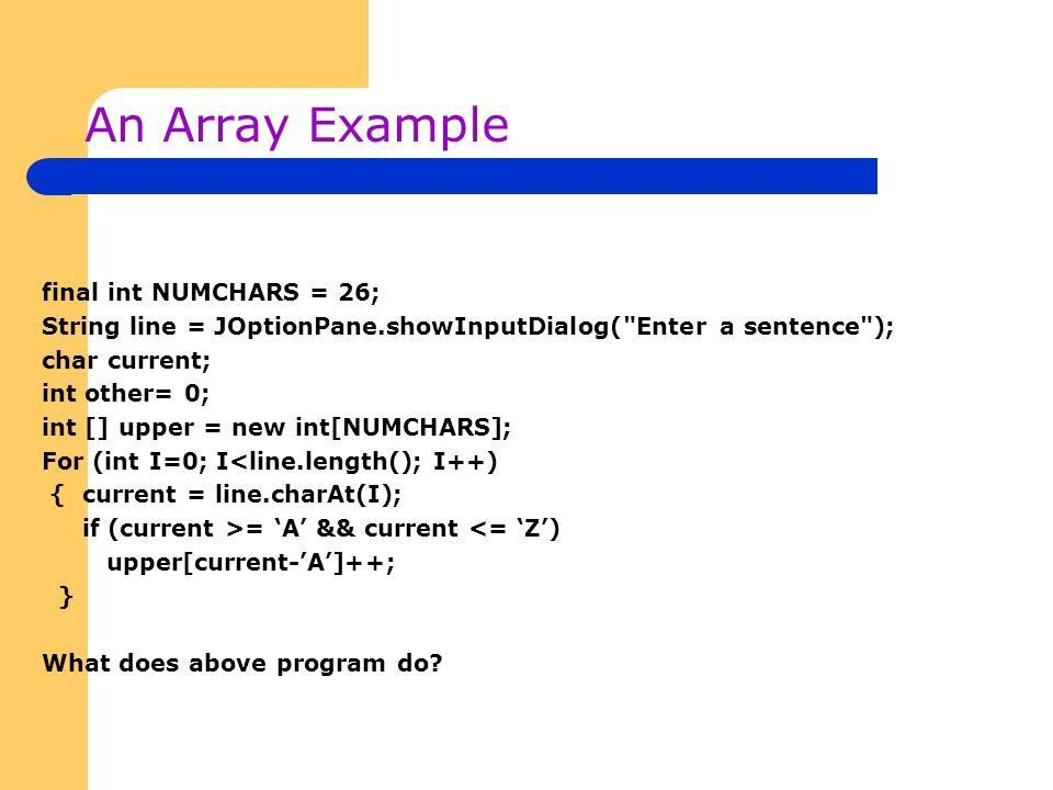 Java – Part II Lecture Notes 4. Arrays An array is a data ...