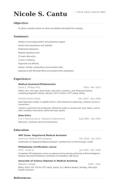 Resume Sample Three Medical Resume Phlebotomist Resume Sample ...