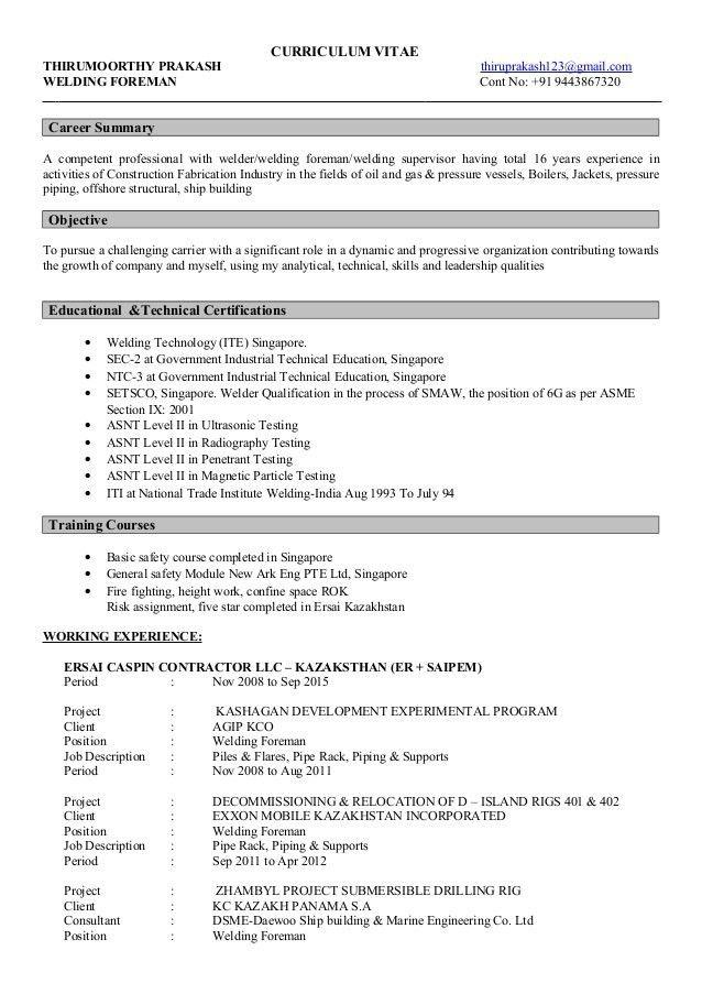 Prakesh Welding Foreman CV