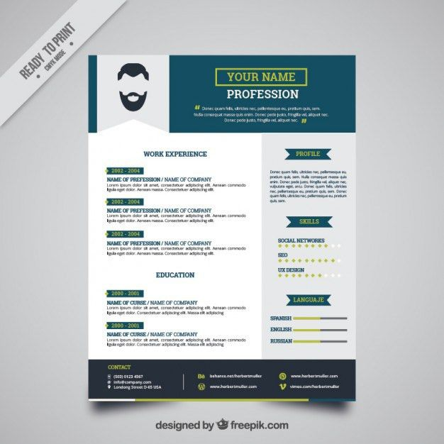 Blue resume template Vector | Free Download
