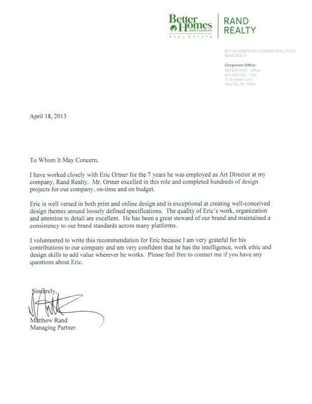 Letter of Recommendation « OrtnerGraphics.com Design Of The Times Blog