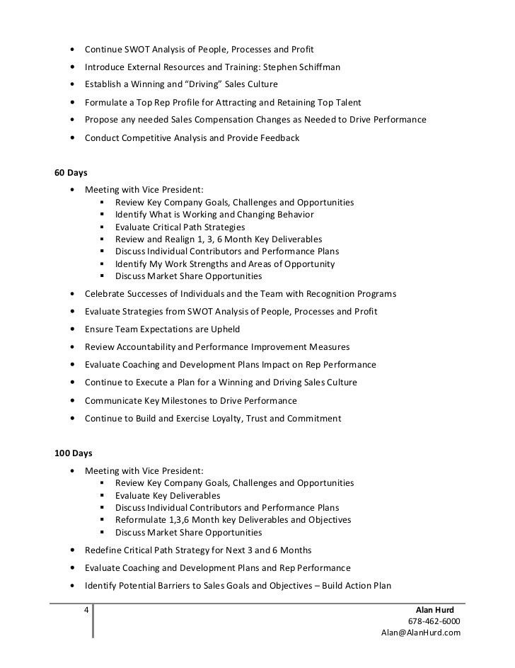 Sales Plan Example. Sample 30 60 90 Day Plan - 10+ Example, Format ...