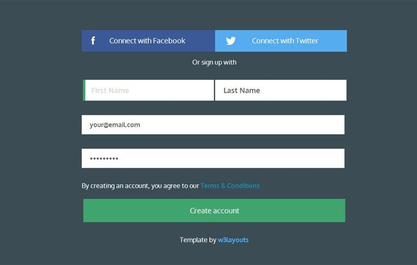 Signup Form Flat Template by w3layouts