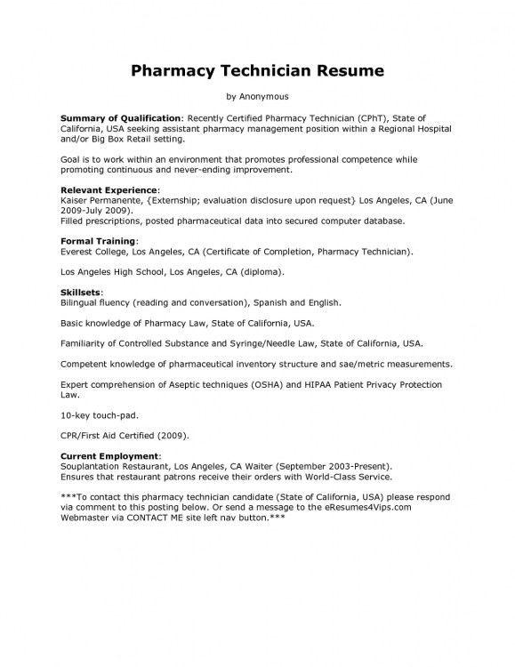 Chic Idea Pharmacy Technician Resume Sample 8 Pharmacy Technician ...