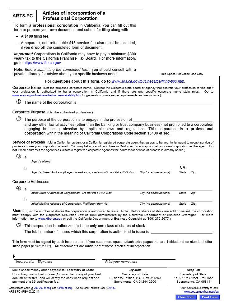 Free California Articles Of Incorporation Templates   CA Secretary ...