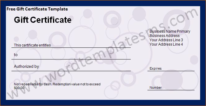6+ word gift certificate template | Outline Templates