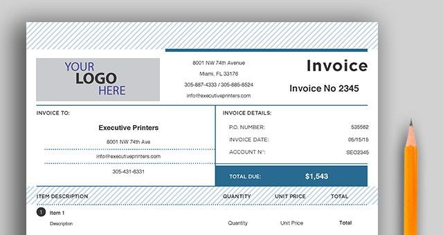 Free Invoice Template | Executive Printers of Florida