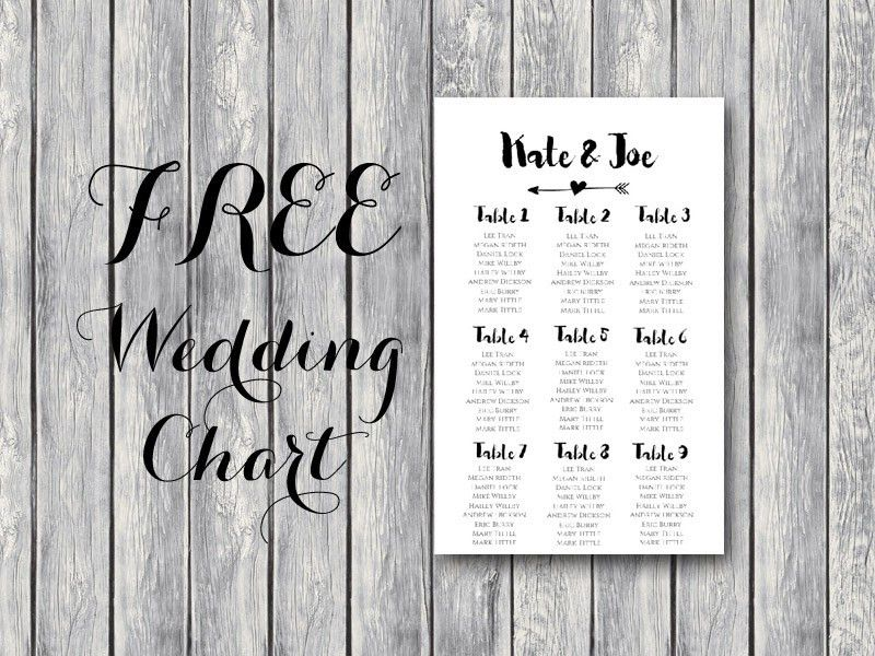 Free Arrow Wedding Seating Chart Template - Bride + Bows