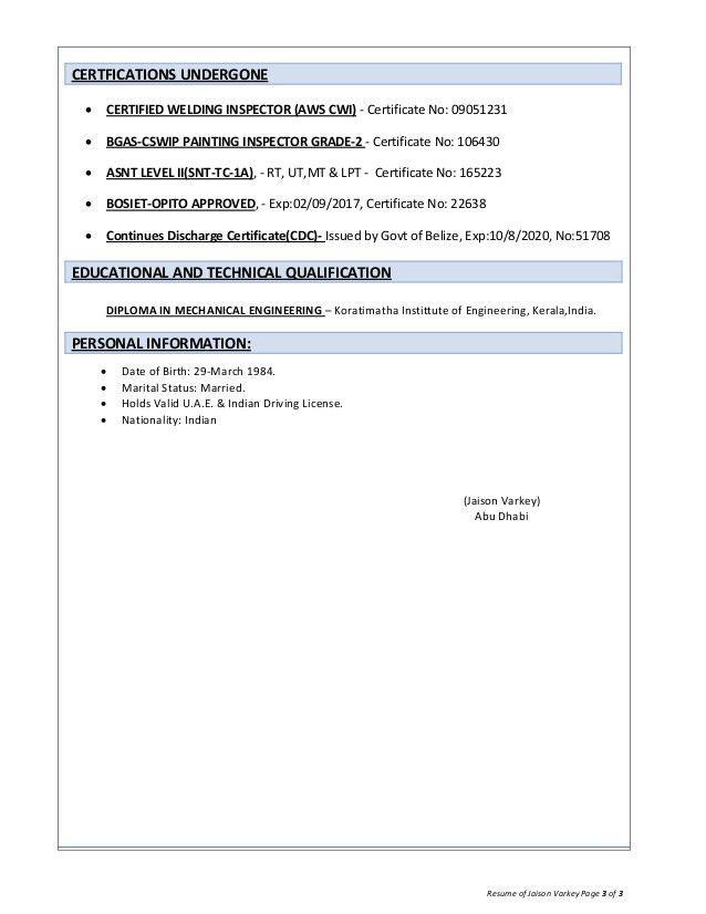 qa qc inspector cswip 3 1 api 570 inspector resume copy copy ...