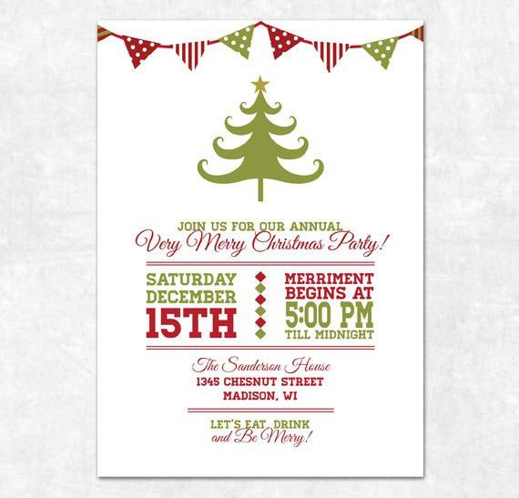 Printable Christmas Invitation - Holiday Bunting and Christmas ...