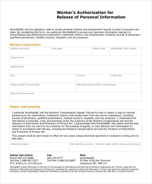 Printable Release Forms