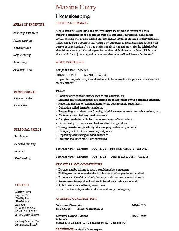 Ingenious Housekeeper Resume 6 Housekeeping Resume Cleaning Sample ...