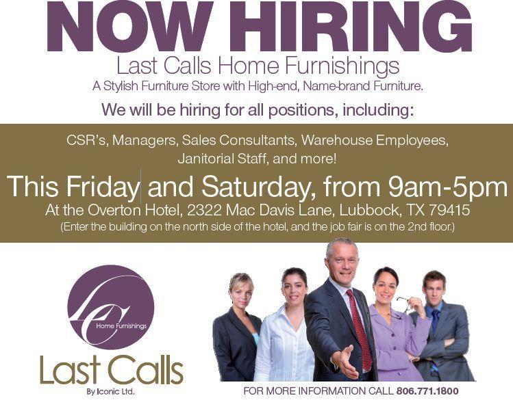 Last Calls Home Furnishings – Now Hiring in Lubbock!
