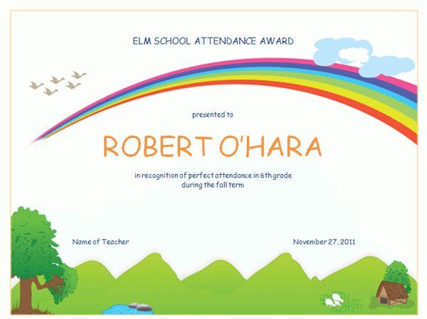 Attendance Award For High School