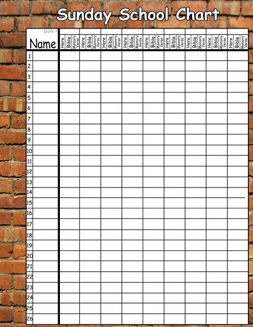 9 Best Images of Printable Sunday School Attendance Sheet Charts ...