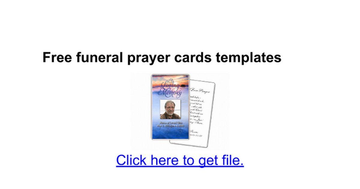 Free funeral prayer cards templates - Google Docs