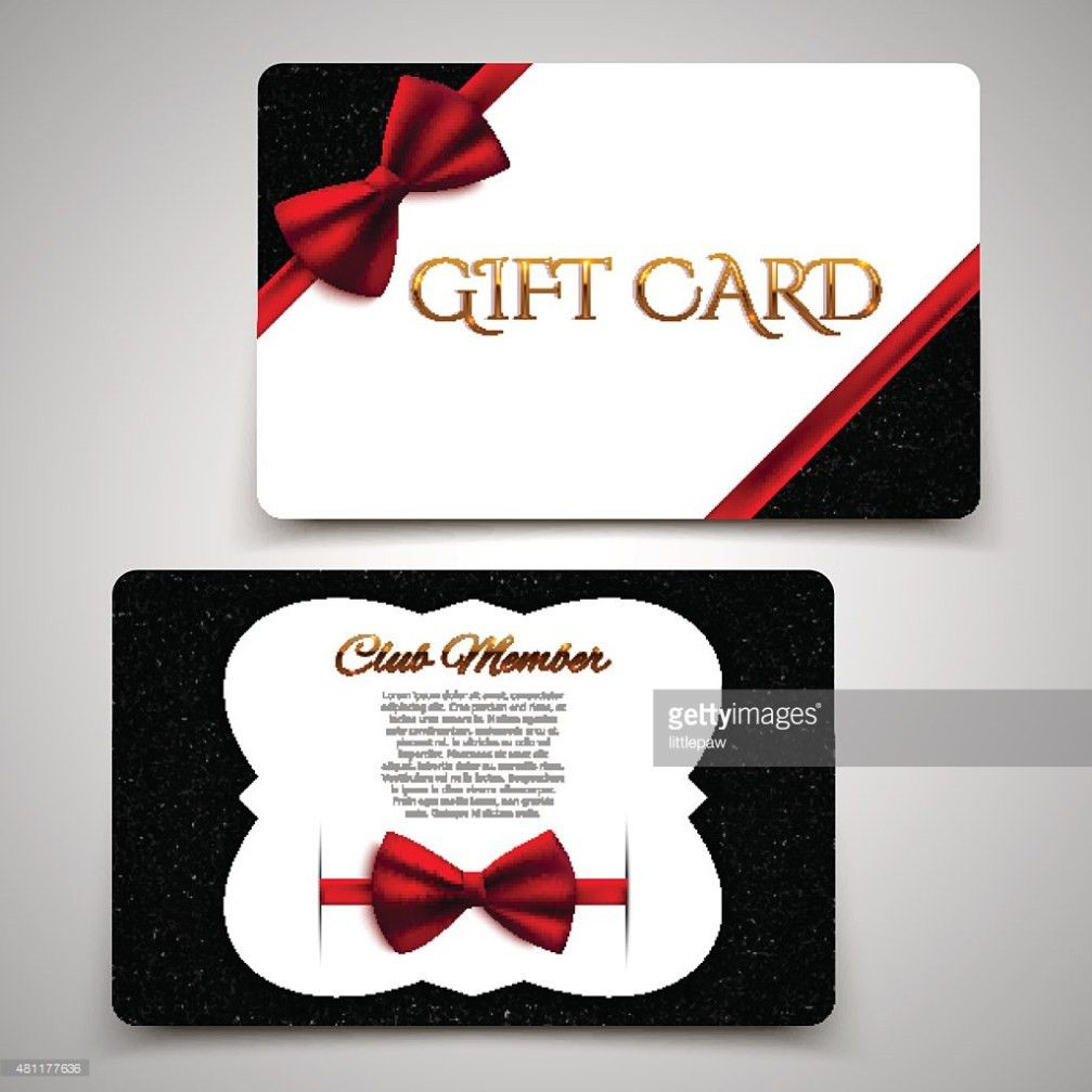 Gift Cards Vector Card Template Club Member Card Red Bow Vector ...