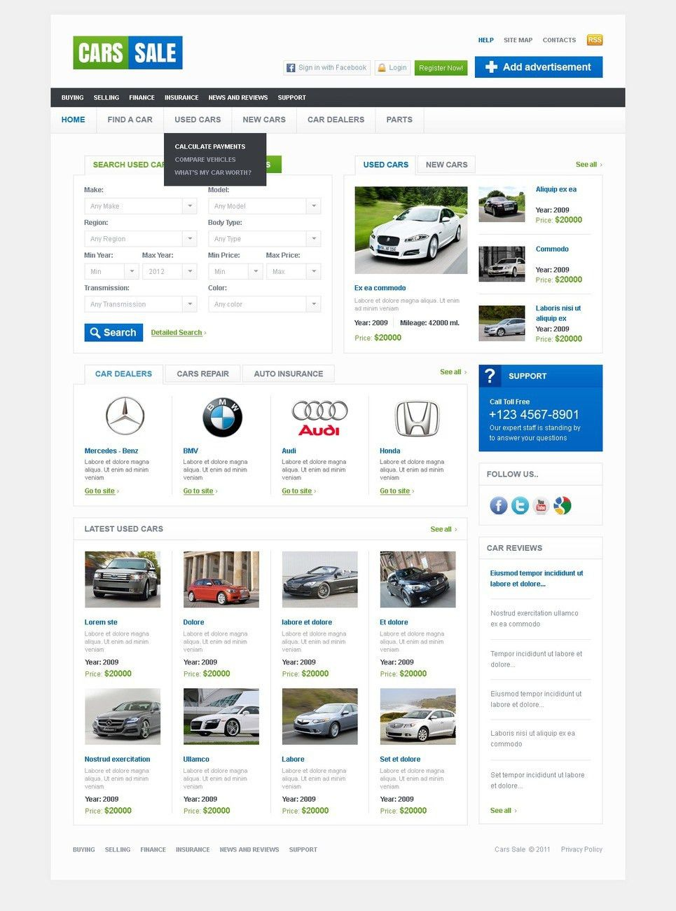 Car Dealer Website Template #36658
