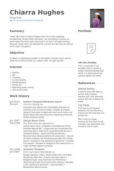 Fashion Designer Resume samples - VisualCV resume samples database