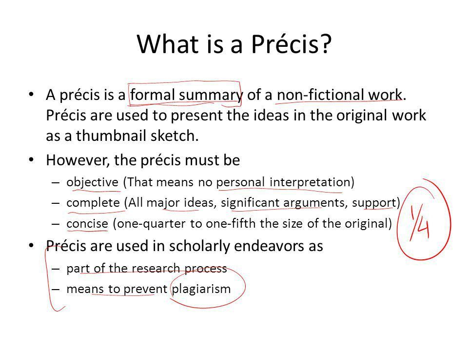 Write a precis of a book
