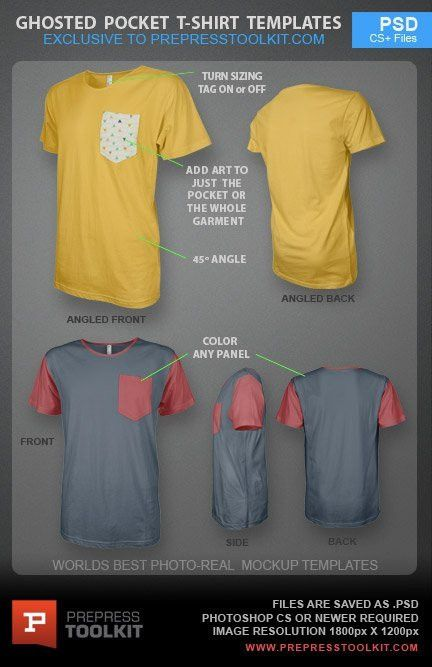Ghosted Pocket T-Shirt Design Template PSD