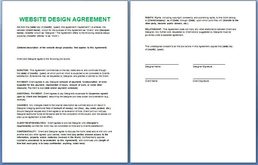 Official Website Design and Development Contract Template Free ...