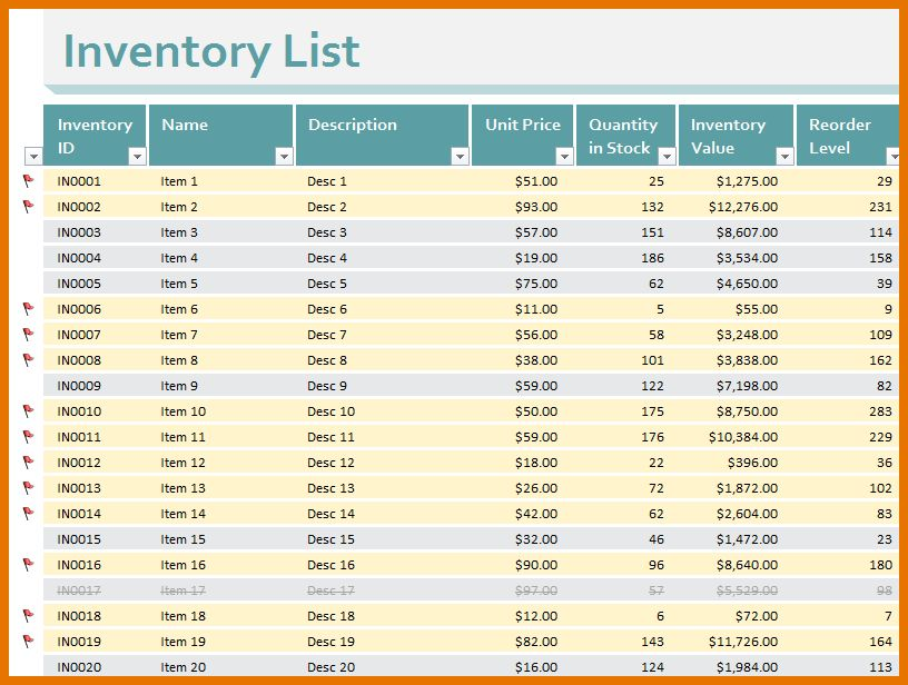 8+ free inventory template | Itinerary Template Sample