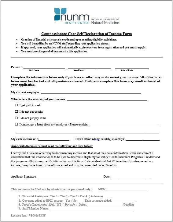 Financial Declaration Form. Registration Form Template 9 Free Pdf ...