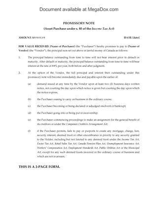 Canada Promissory Note Forms | Legal Forms and Business Templates ...