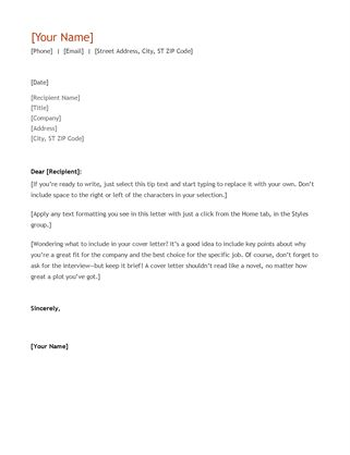 Resume and cover letter (chronological) - Office Templates