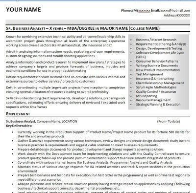Business Analyst Resumes | Enwurf.csat.co