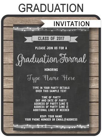 Graduation Formal Invitation | Editable and Printable Template | 2017