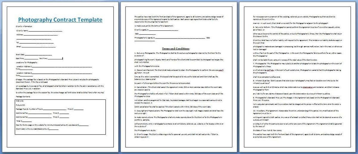 Formal Wedding Photography Contract Template | Formal Word Templates